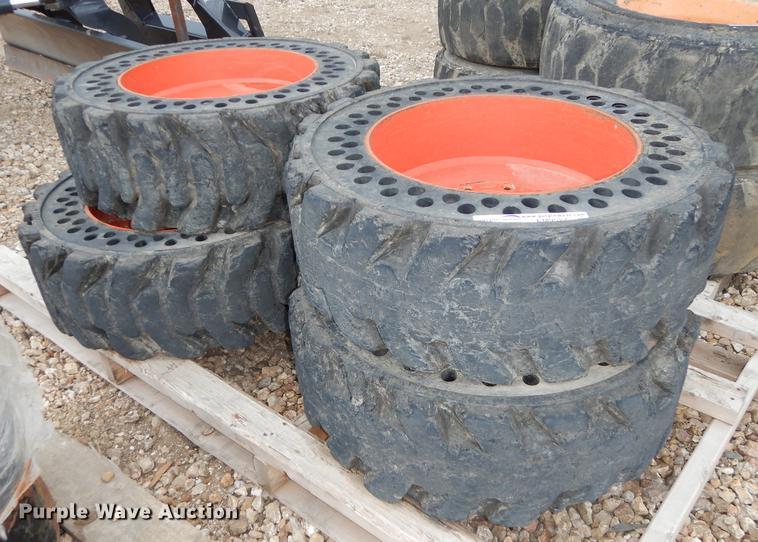 (4) Bobcat 10 x 16.5 flex solid tires