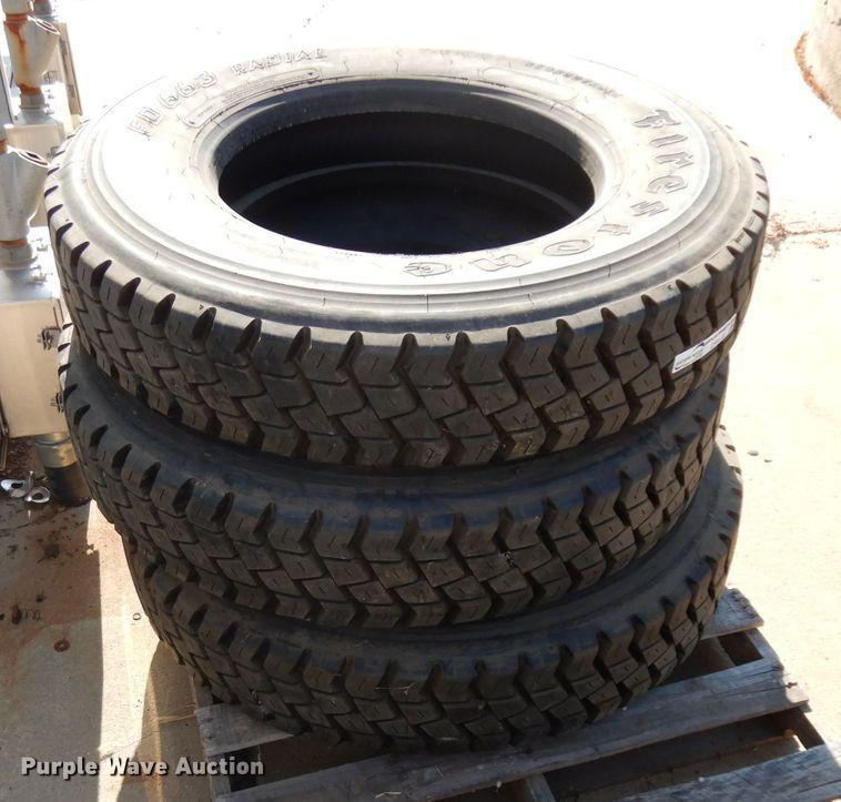 (3) Firestone 10R22.5 12PR recapped tires