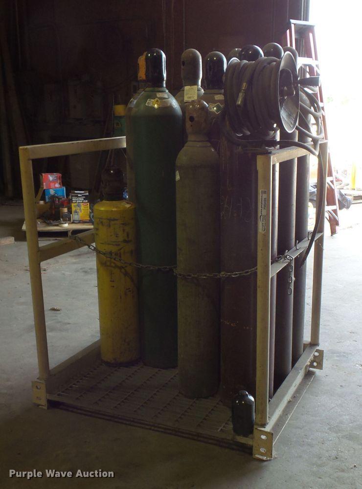 Oxygen and argon bottles