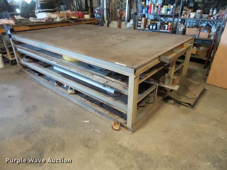 (2) steel table wood top