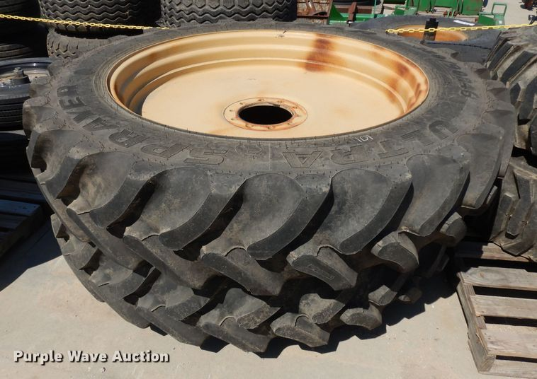 (2) 380/90R46 tires and wheels