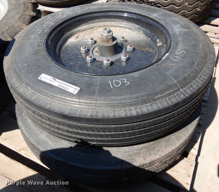(4) 8R19.5 tires and wheels