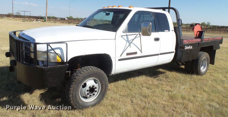 1999 Dodge Ram 3500 Quad Cab bale bed pickup truck