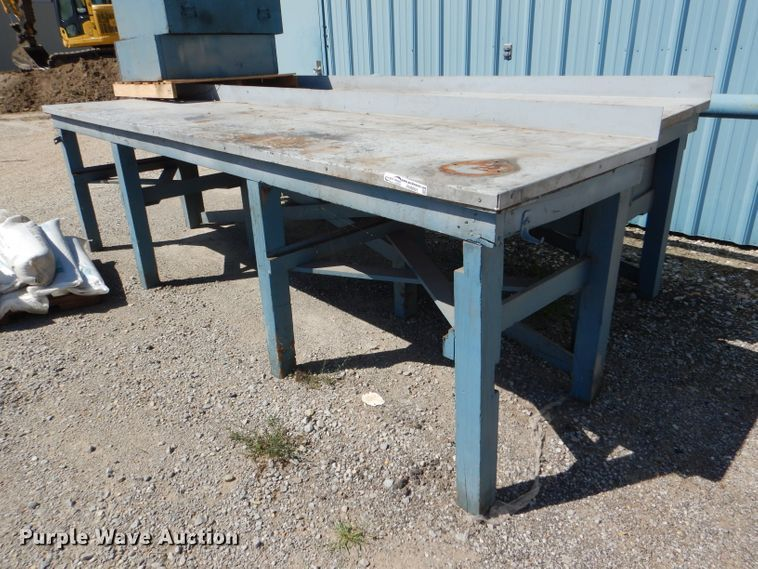 (2) steel work benches