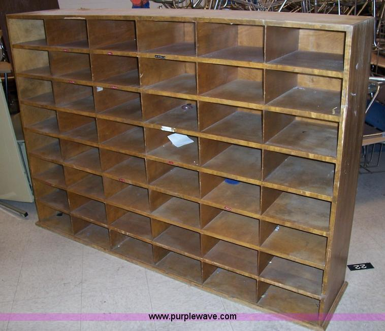 1508 Item Details. Wood Mail Sorting Cabinet
