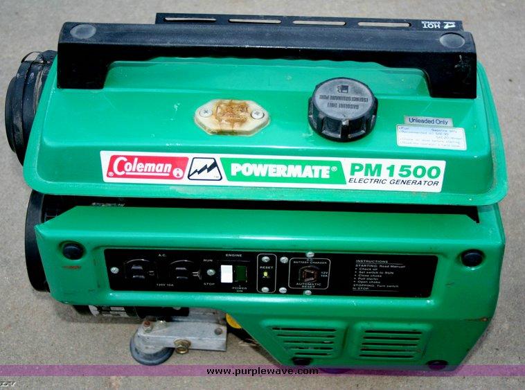 item 3537 sold june 16 kansas city area internet only rh purplewave com coleman powermate pm 1500 generator manual coleman powermate pm 1500 parts