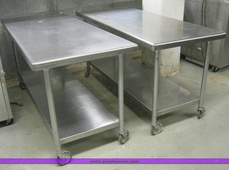 6707 image for item 6707 (2) stainless steel rolling kitchen tables & 2) stainless steel rolling kitchen tables | Item 6707 | SOL...