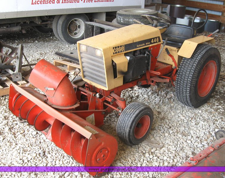 Case 446 Garden Tractor : Case garden tractor with seven attachments item