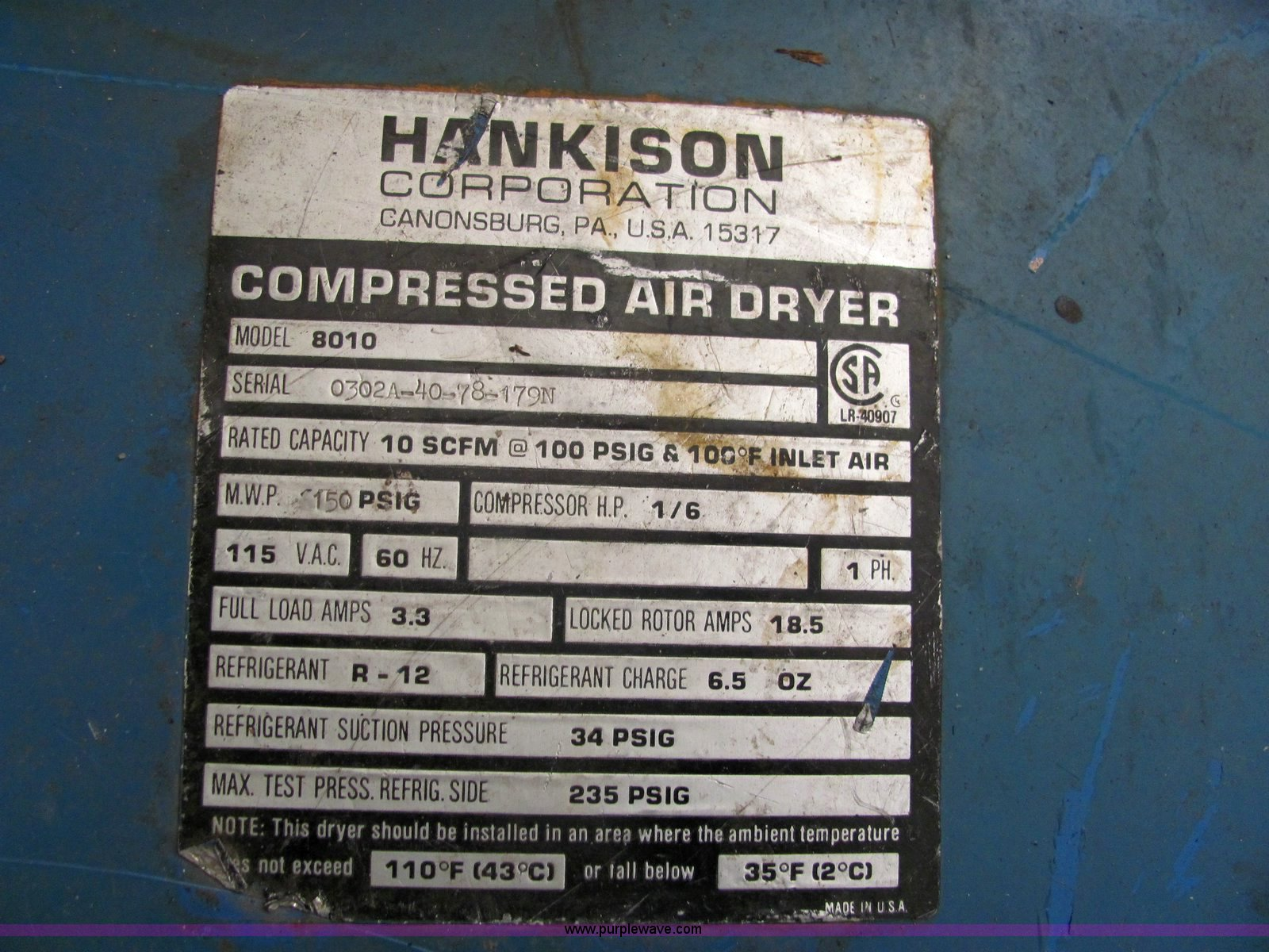... Hankison 8010 compressed air dryer Full size in new window