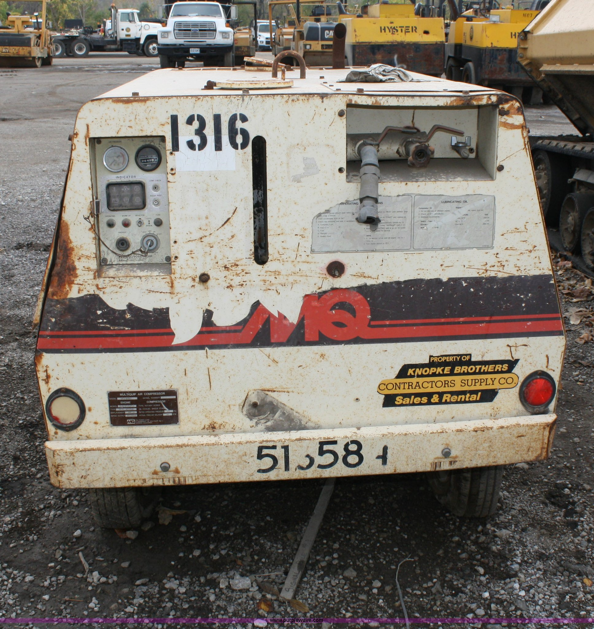 Multiquip dps 90sst air compressor item 5086 sold for New construction windows for sale