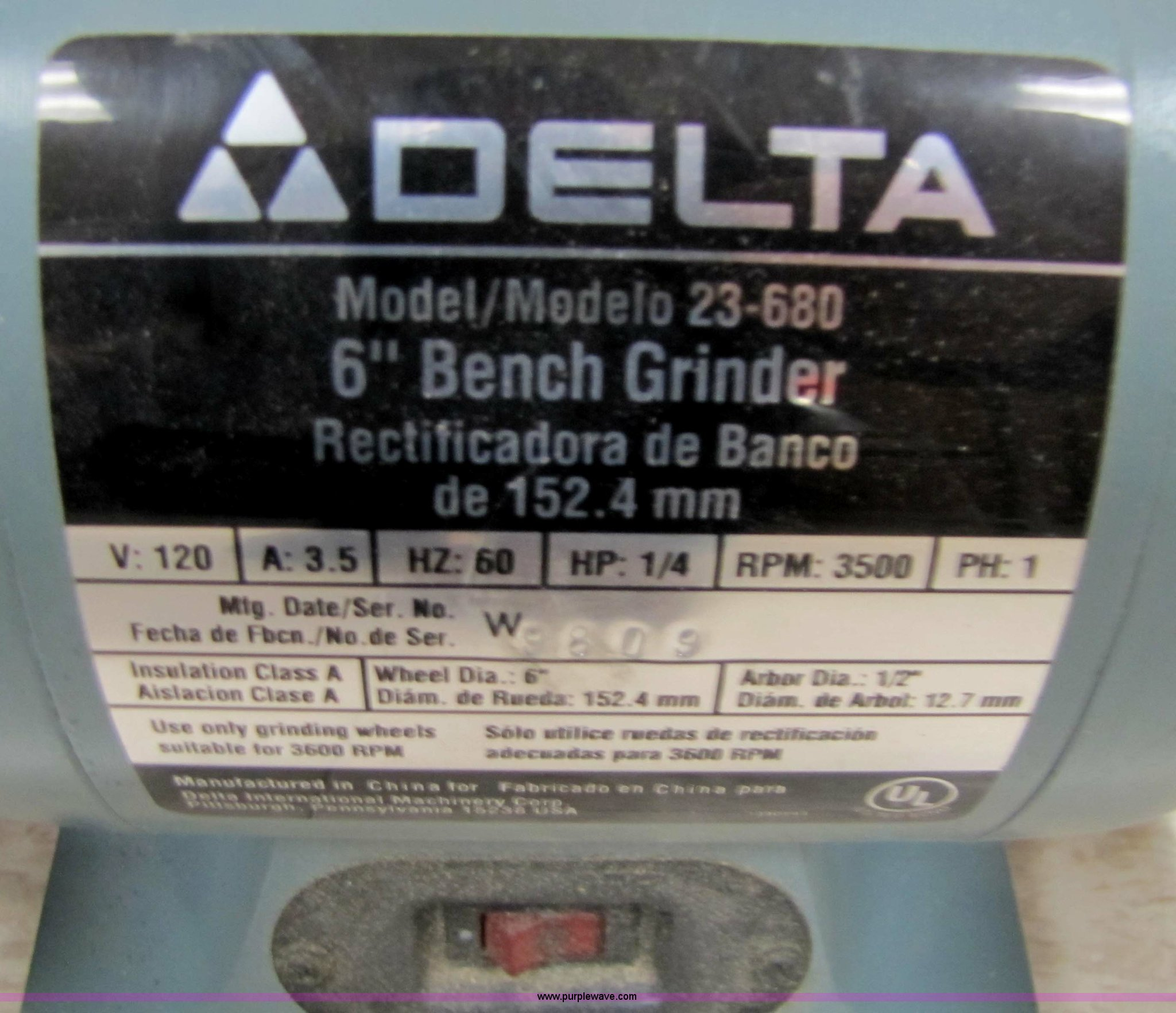 Delta 6 Bench Grinder Item 5226 Sold January 18 G Wiring Diagram Full Size In New Window