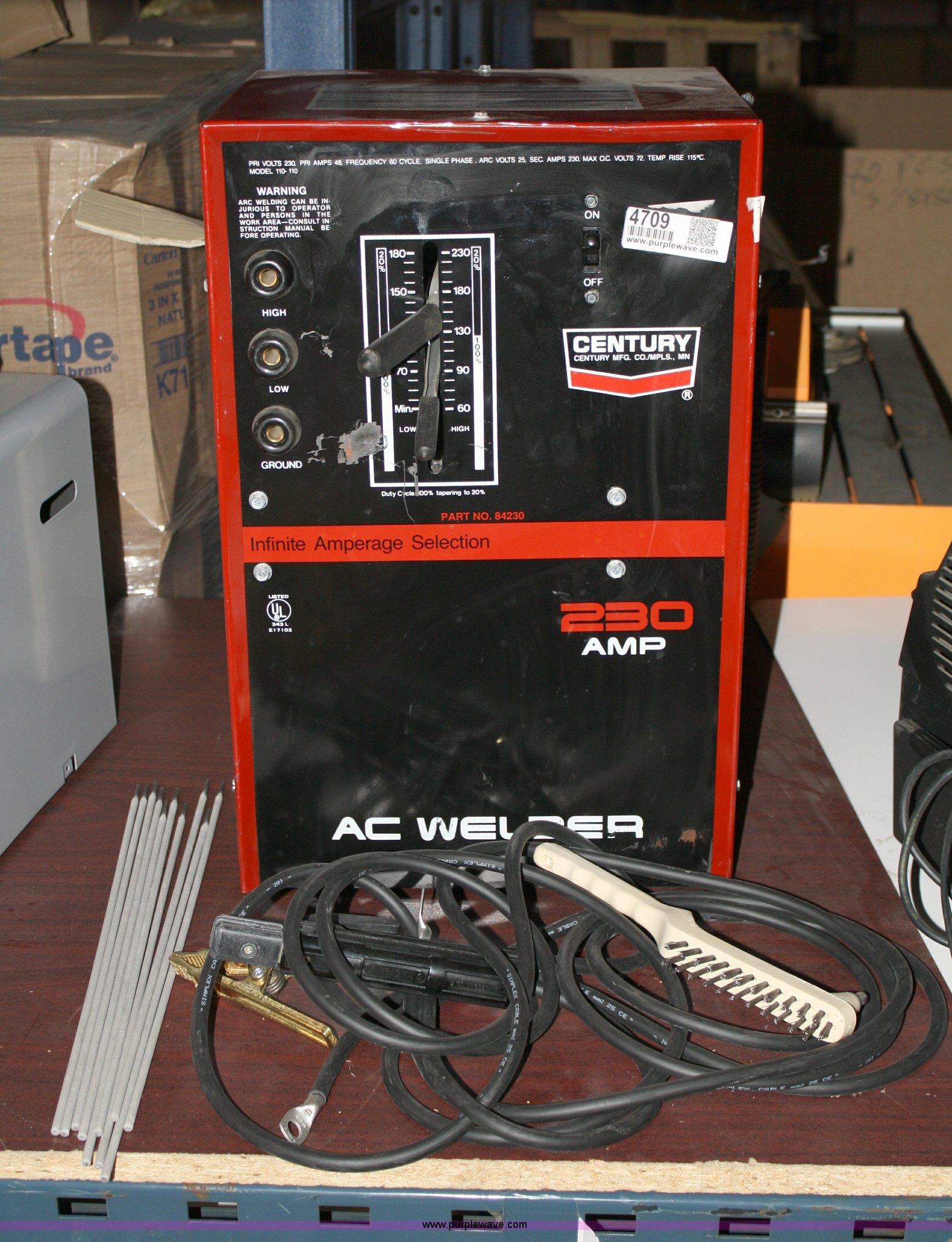 Century 230 amp arc welder | Item 4709 | SOLD! April 5 TAP E