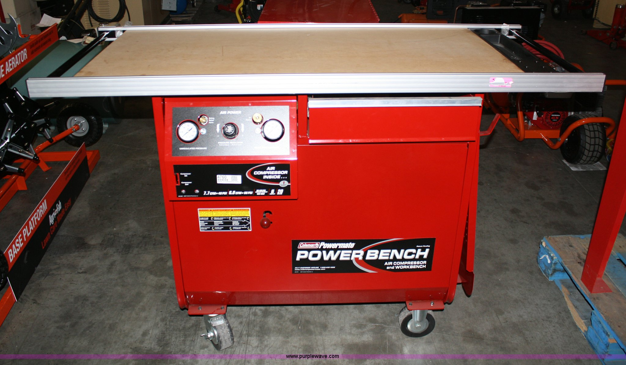 coleman powermate portable work bench with enclosed press  full size in new window