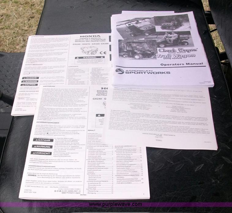 2008 American Sportworks Chuck Wagon utility vehicle | Item