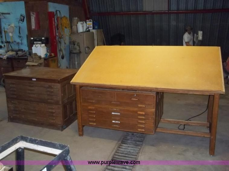 2097 Image For Item 2097 Vintage Oak Drawing Table And Storage Cabinet