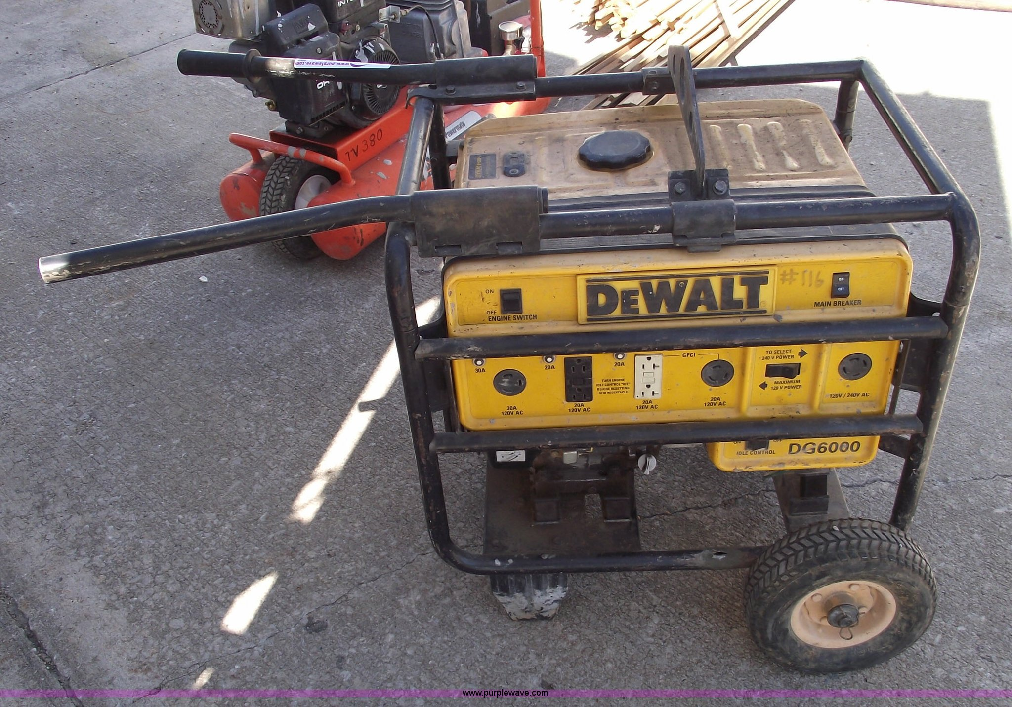 dewalt dg6000 generator item a9408 sold september 15 co rh purplewave com dewalt generator dg6000 parts dewalt generator dg6000 replacement parts