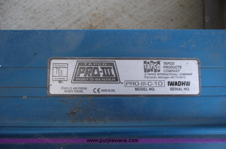 Tapco Pro Iii Porta Bender Aluminum Brake In Liberty Mo Item B9150 Sold Purple Wave