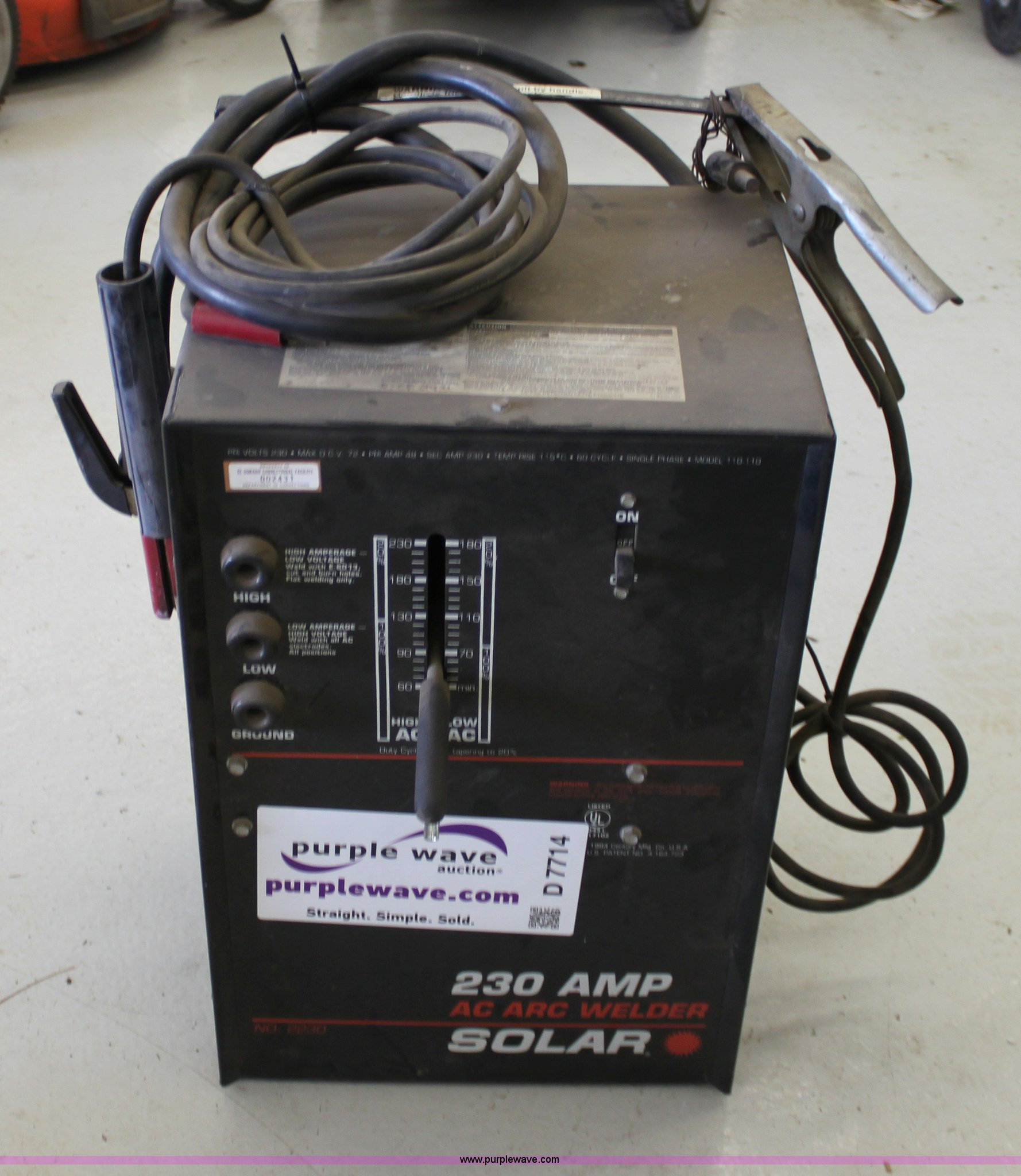 Solar 230 amp AC arc welder | Item D7714 | SOLD! May 8 Gover