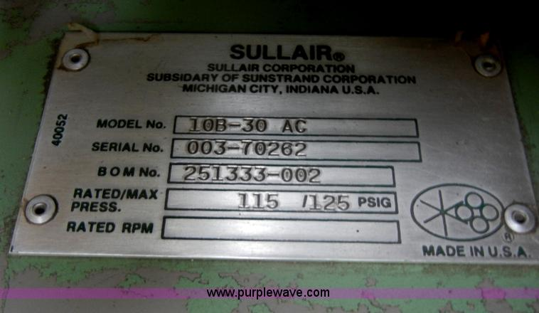 Sullair air compressor | Item K9144 | SOLD! May 16 Midwest A