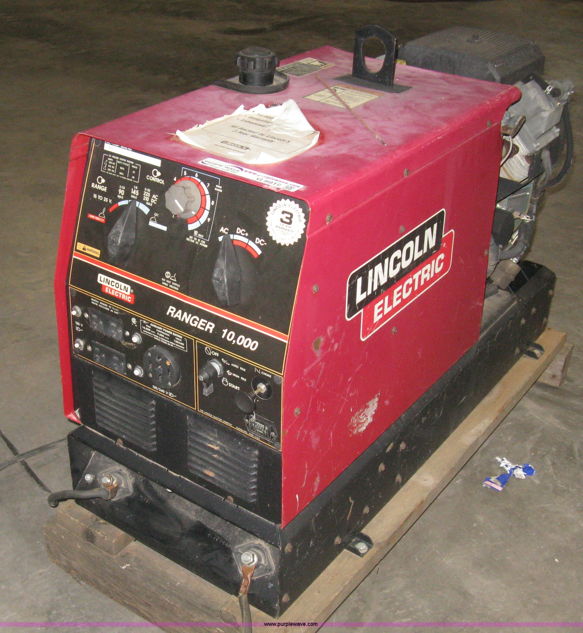 Lincoln Electric Ranger 10000 Welder Generator Item G9919 And Parts Image For