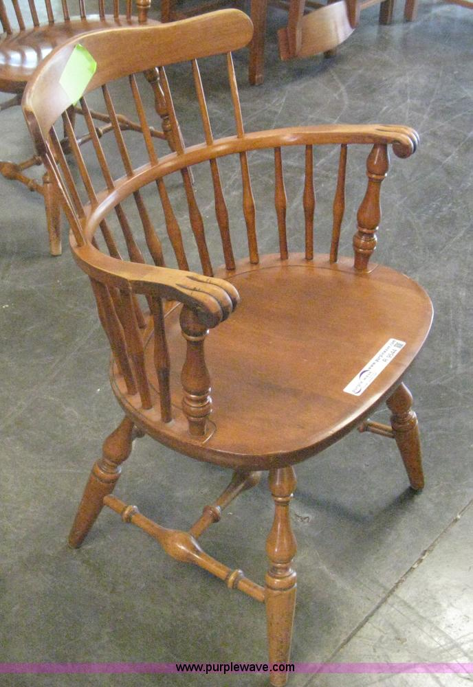 R9544 Image For Item R9544 (7) Wooden Round Back Arm Chairs