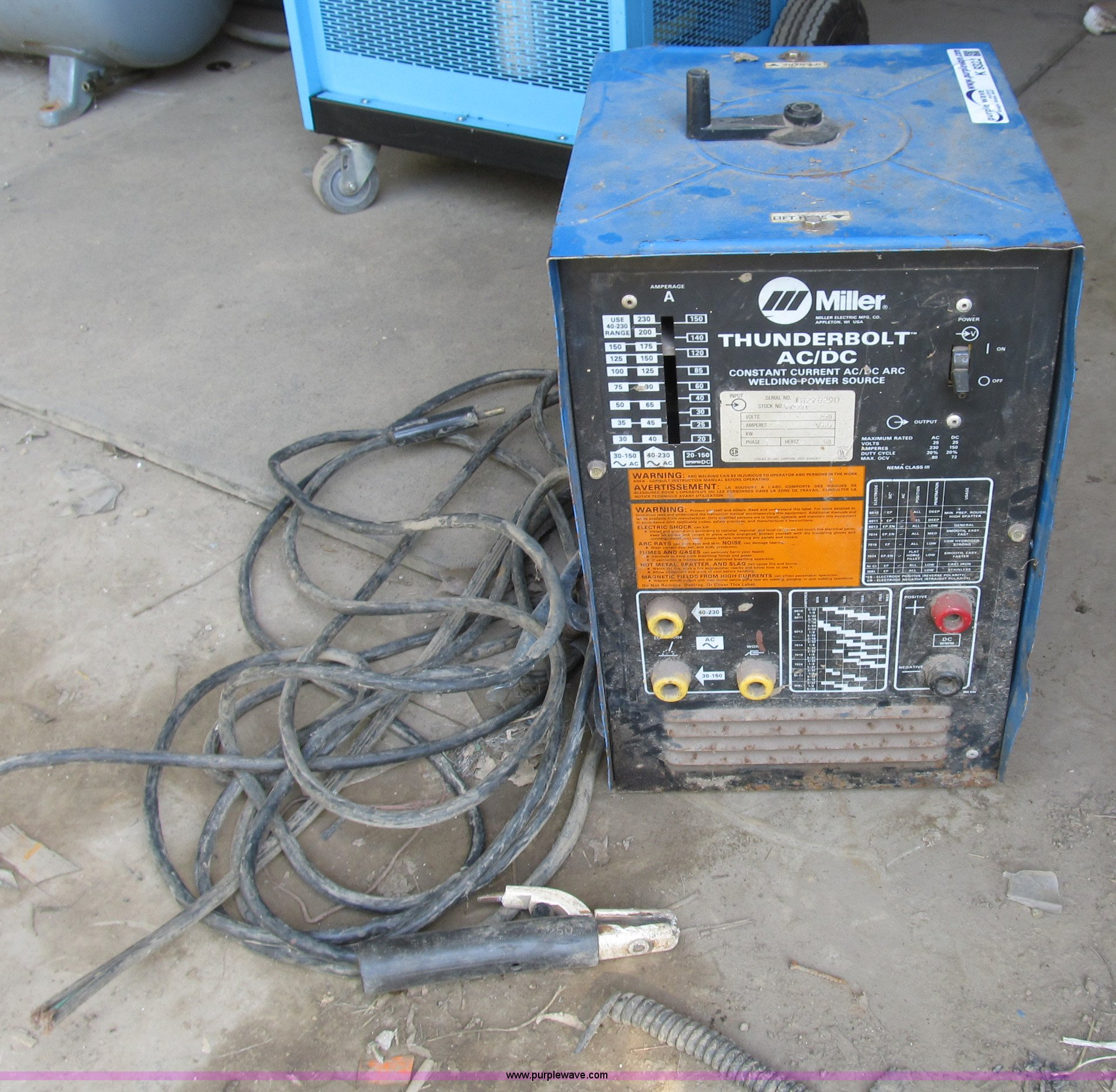 Miller Arc Welder >> Miller Thunderbolt Ac Dc Arc Welder Item K9322 Sold Wed
