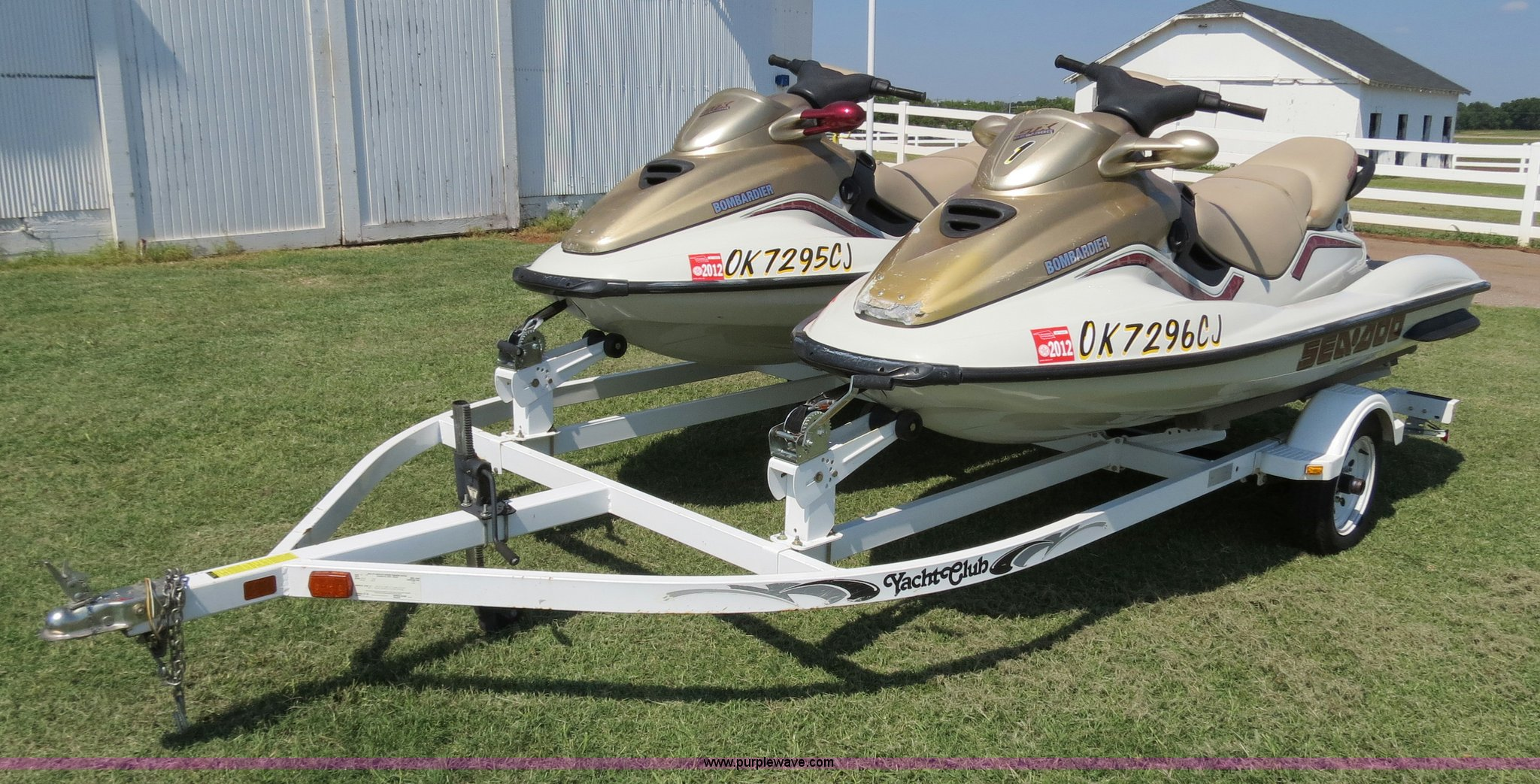 2 1999 Bombar r GTX RFI Sea Doo jet skis with trailer