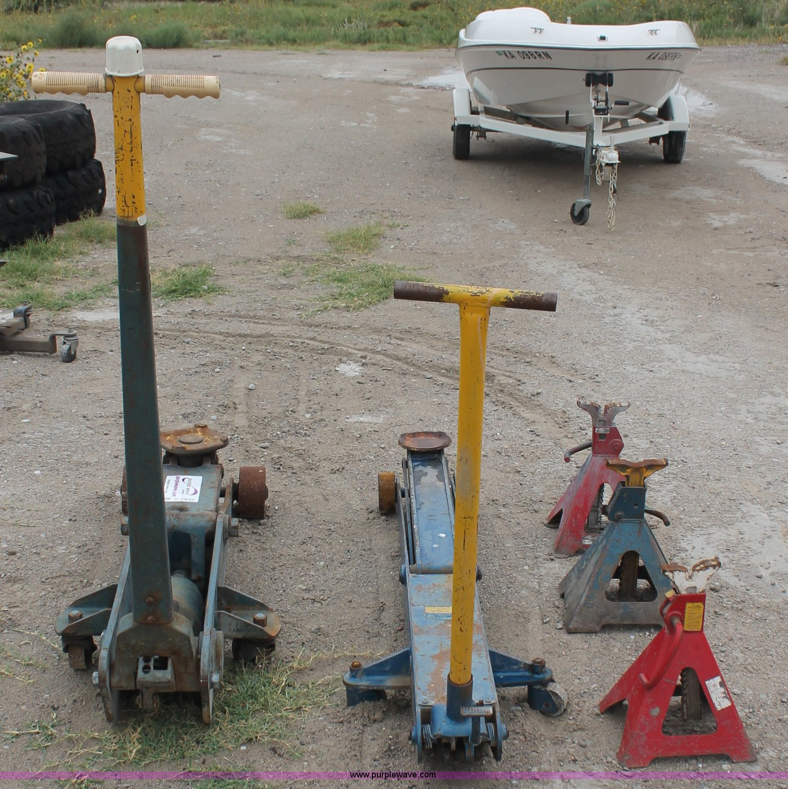 Two floor jacks and three jack stands item c2832 sold for 10 ton floor jack for sale