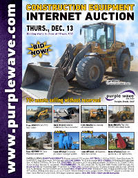 View December 13 Construction Equipment Auction flyer