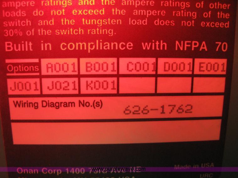 Onan 30 EK generator   Item B8339   SOLD! January 9 Midwest ... Old Onan Generators Wiring Diagrams Dda on