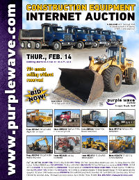 View February 14 Construction Equipment Auction flyer