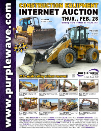 View February 28 Construction Equipment Auction flyer