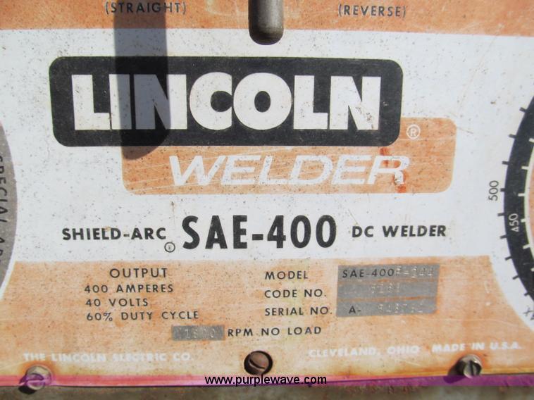 lincoln sae 400 f244 welder item y9619 sold thursday ma rh purplewave com Lincoln SAE 300 Diesel Welder Lincoln SAE- 300