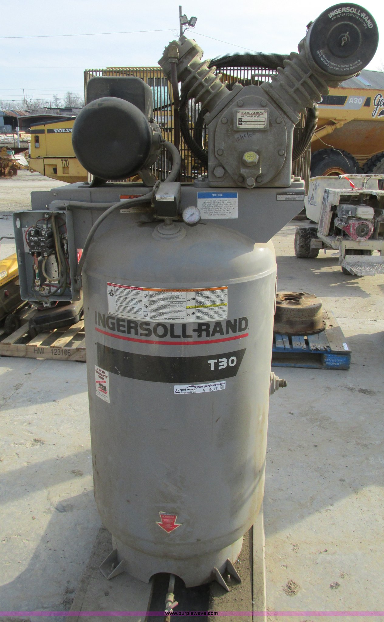 Ingersoll Rand T30 Air Compressor Item V9077 Selling At