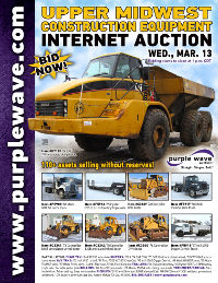 View March 13 Upper Midwest Construction Equipment Auction flyer