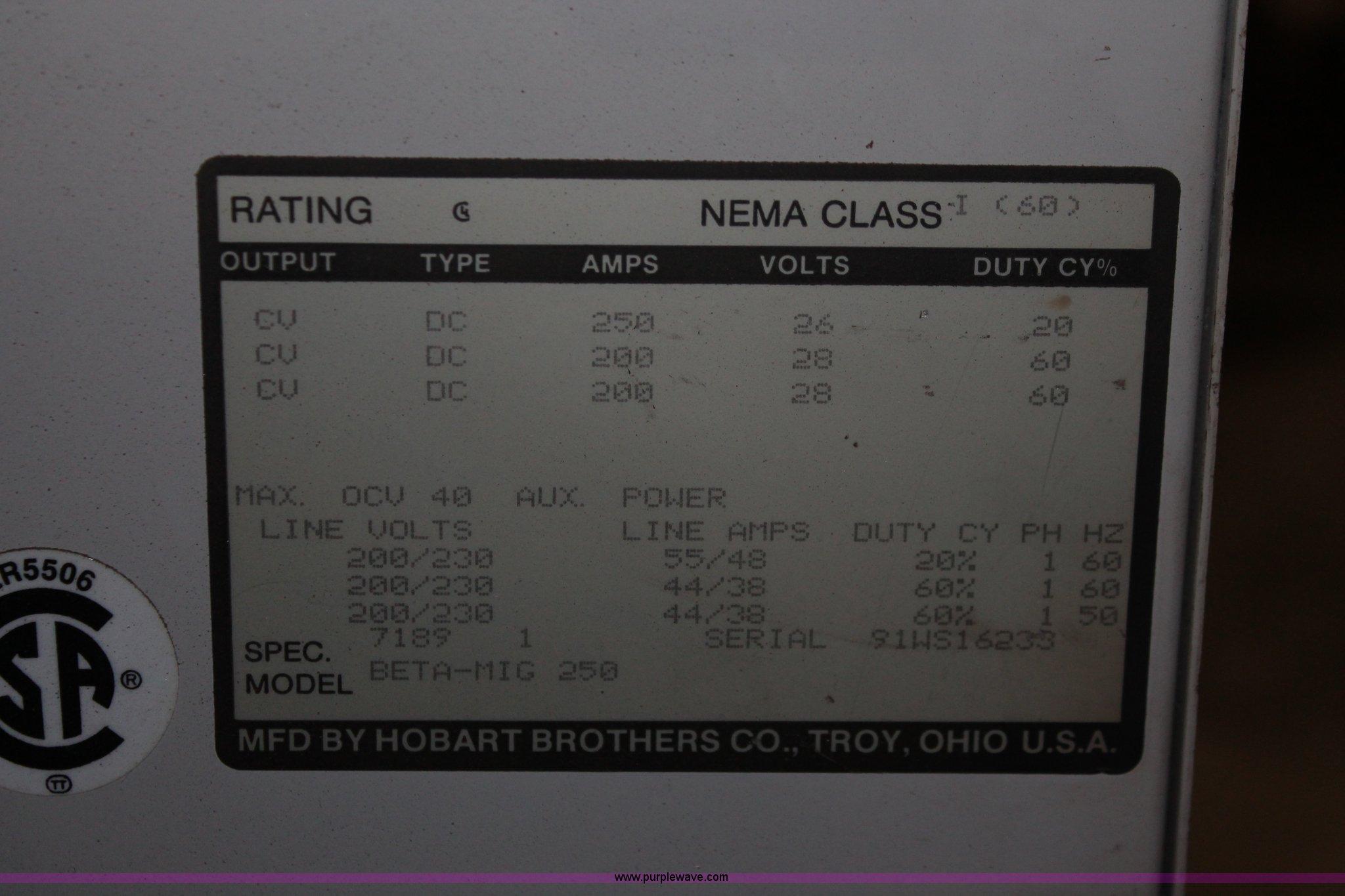 Hobart Beta-Mig 250 CV power source wire feed welder ...