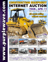 View April 11 Construction Equipment Auction flyer