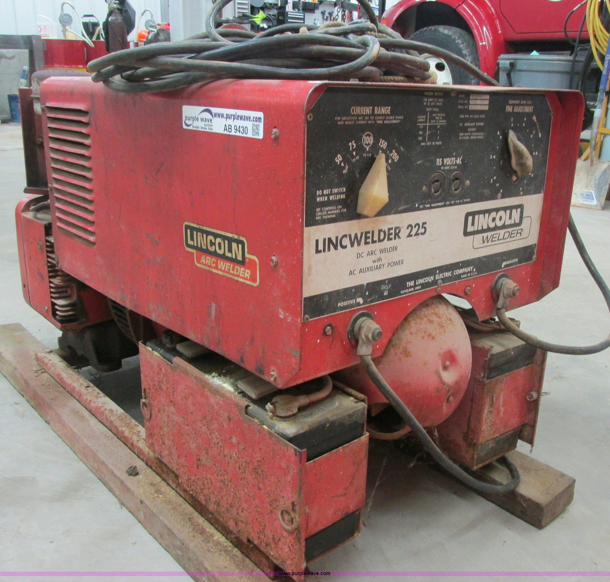 lincoln lincwelder 225 welder generator item ab9430 sold