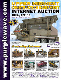 View April 18 Upper Midwest Construction Equipment Auction flyer