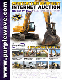 View May 9 Construction Equipment Auction flyer