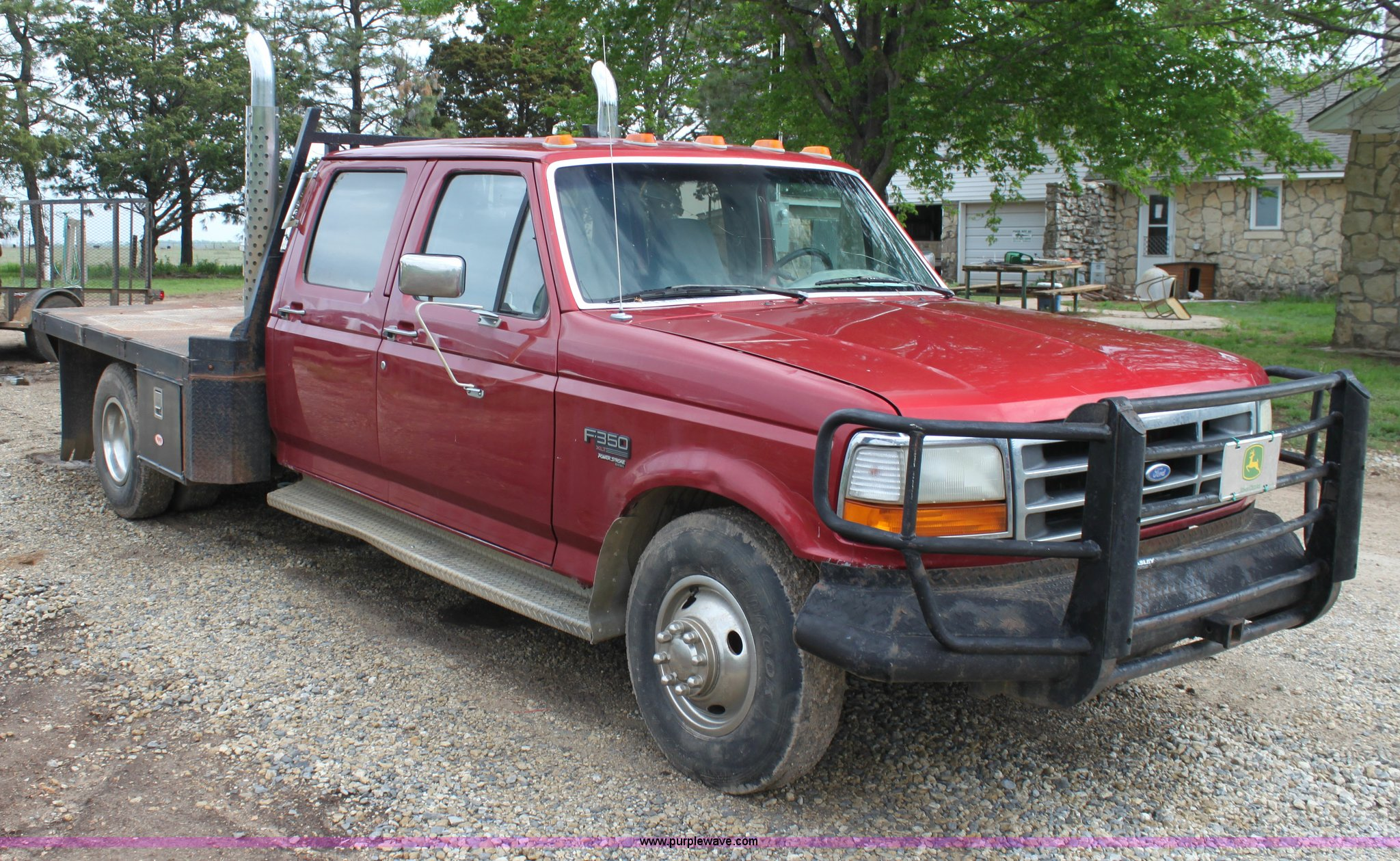 1997 Ford F350 Xlt Crew Cab Flatbed Pickup Truck In Douglass Ks Item H7500 Sold Purple Wave