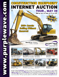 View May 30 Construction Equipment Auction flyer