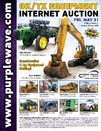 View May 31 Oklahoma/Texas Ag and Construction Equipment Auction flyer