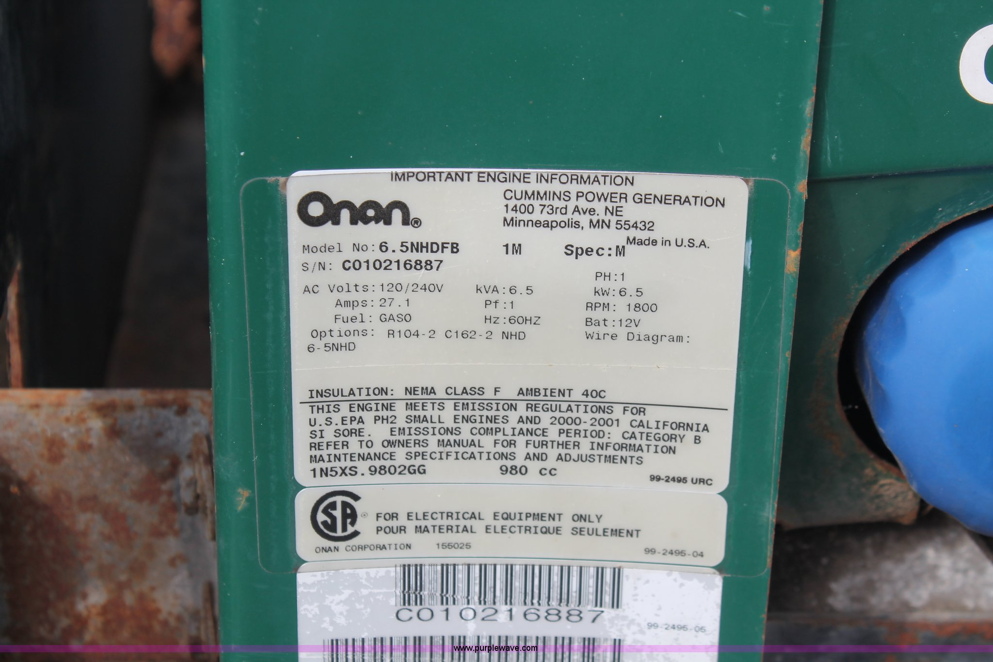 Onan Commercial 6500 Generator Item D8269 Sold June 5 C Fuel Pump Wiring Diagram Full Size In New Window