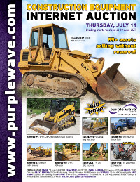 View July 11 Construction Equipment Auction flyer