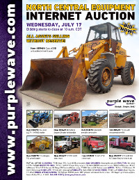 View July 17 North Central Construction Equipment Auction flyer