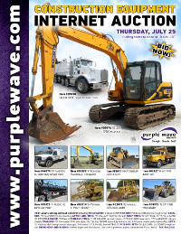 View July 25 Construction Equipment Auction flyer
