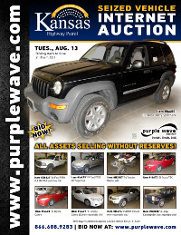 View August 13 Kansas Highway Patrol Seized Vehicle Auction flyer