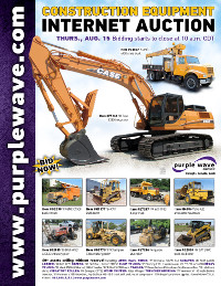 View August 15 Construction Equipment Auction flyer