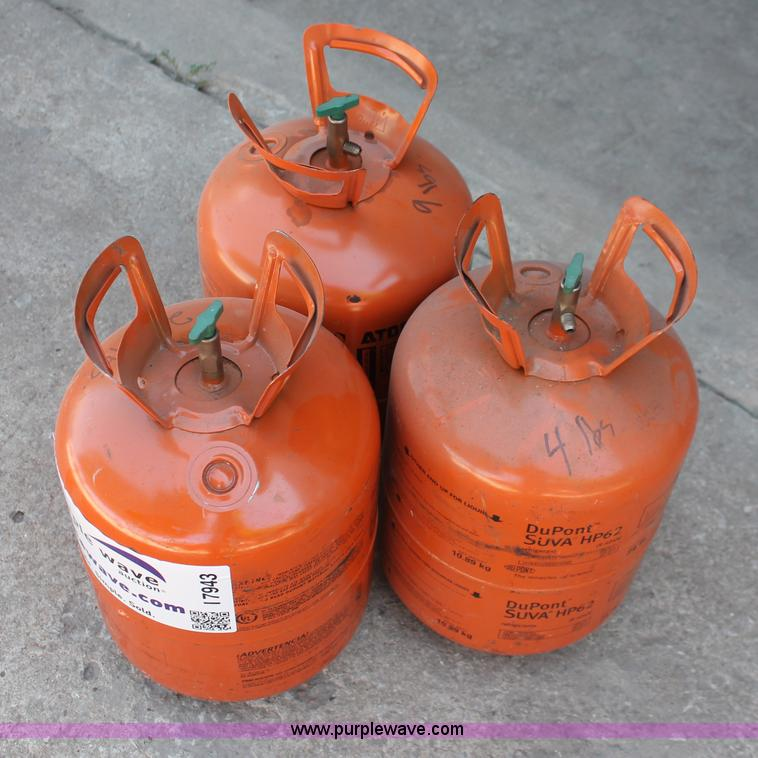 3) Dupont Suva HP62 404A refrigerant tanks   Item I7943   S